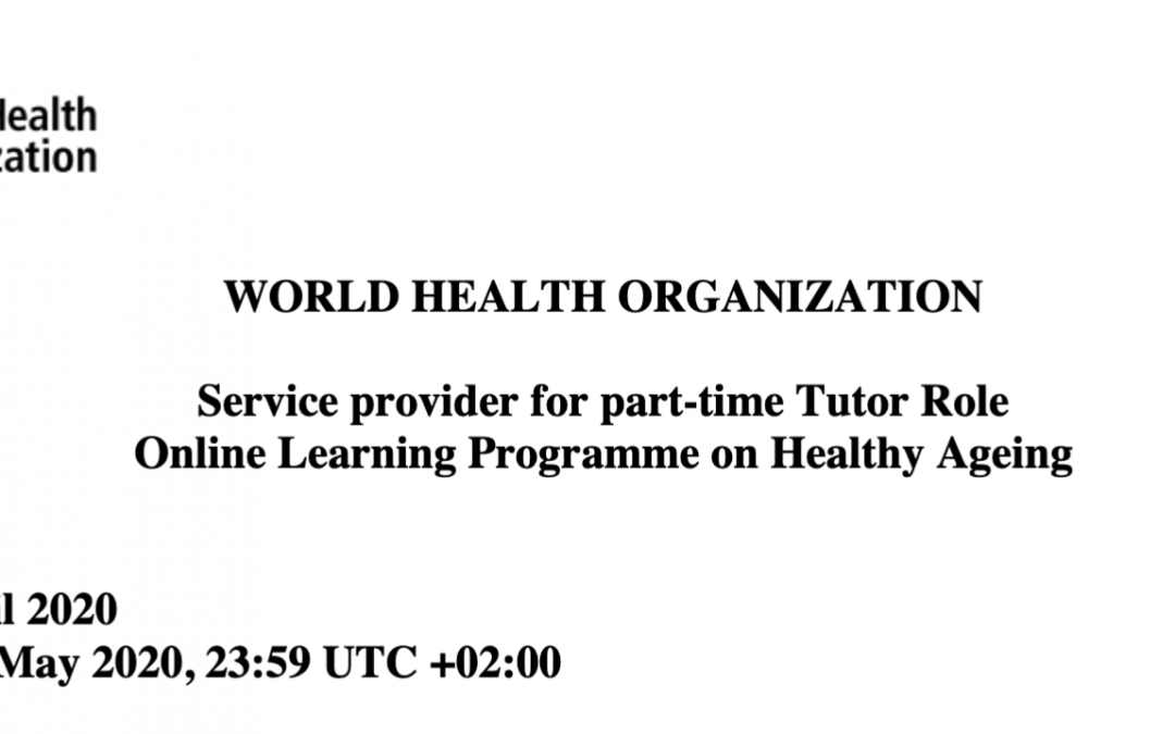 Part-time Tutor Role: Online Learning Programme on Healthy Ageing