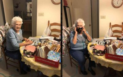 89-Year-Old Sews 600 Masks While Listening to The Beatles