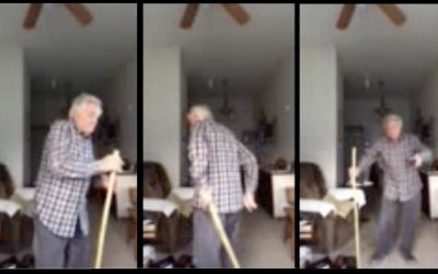 82-Year-old Grandpa Dances With a Broom Because He Isn't Going to Let COVID-19 Ruin This Senior's Fun