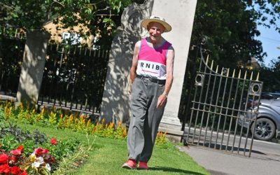 An 85-year-old great-grandad is trekking 1,000-miles around Addlestone park for charity