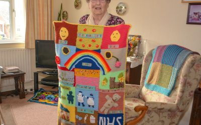 Joyce, 95, knits unique quilt to say thanks to NHS key workers