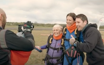 86-year-old Dilys Price holds the Guinness World Record for oldest female skydiver